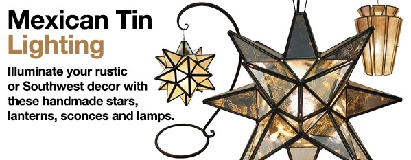 Mexican Tin Lighting - Hanging Lanterns & Stars, Wall Sconces in Outdoor Hanging Star Lanterns (Image 5 of 10)