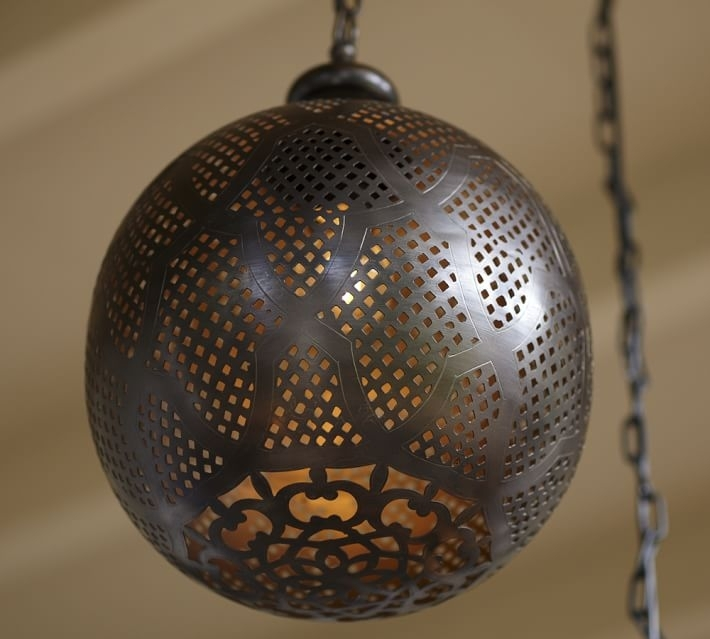 Moroccan Indoor/outdoor Pendant | Pottery Barn pertaining to Outdoor Hanging Moroccan Lanterns (Image 9 of 10)