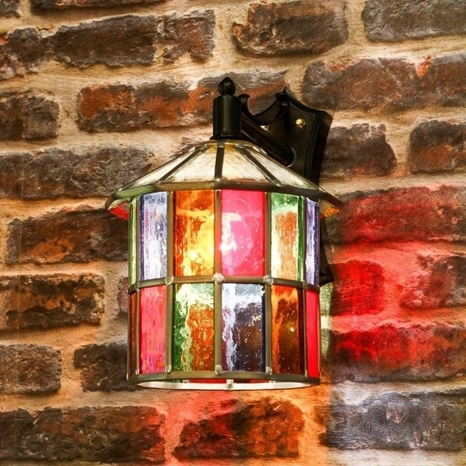 Multi Coloured Stained Glass Outdoor Wall Lantern, Ip23 throughout Stained Glass Outdoor Wall Lights (Image 8 of 10)