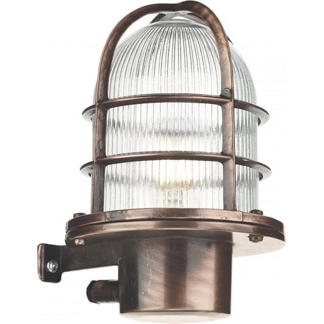Nautical Industrial Style Garden Wall Light, Solid Brass Copper Finish intended for Nautical Outdoor Wall Lighting (Image 3 of 10)