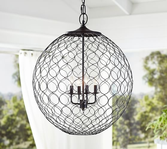 Net Globe Indoor/outdoor Pendant | Pottery Barn Within Outdoor Hanging Orb Lights (Photo 7 of 10)