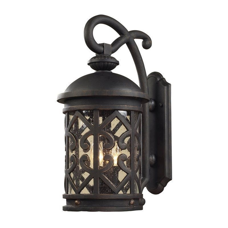 New Rustic Tuscan Indoor Outdoor Wall Sconce French Weathered Bronze with regard to Outdoor Wall Lighting With Seeded Glass (Image 7 of 10)