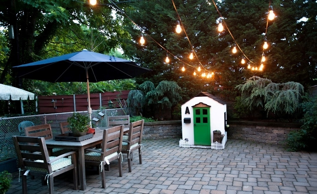 Nice Paved Patio Design With Outdoor Hanging Lights And Rustic With Rustic Outdoor Hanging Lights (Photo 10 of 10)