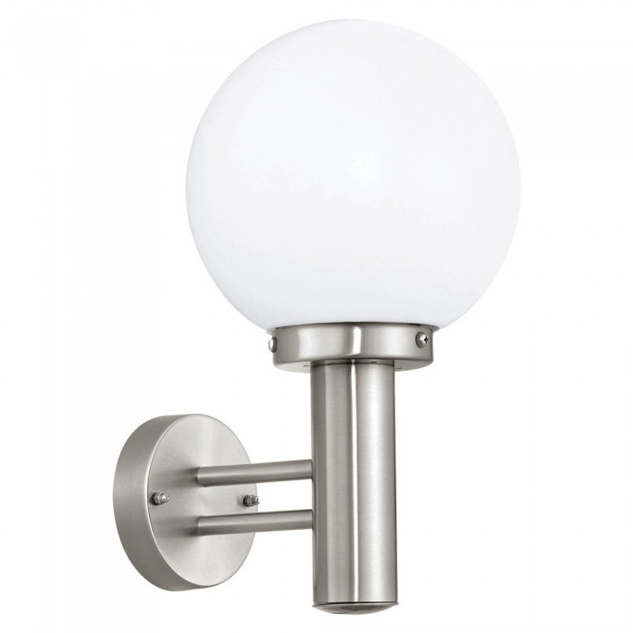 Nisia 60W Stainless Steel White Glass Globe Garden Outdoor Wall with Globe Outdoor Wall Lighting (Image 6 of 10)