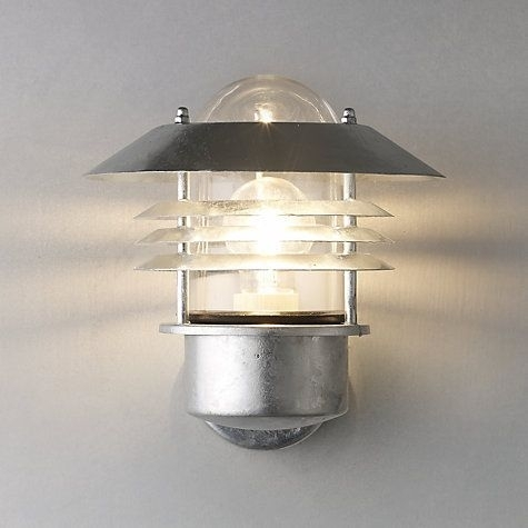 Nordlux Vejers Outdoor Wall Light, Galvanised Steel | Galvanized In Outdoor Wall Lights At John Lewis (Photo 1 of 10)