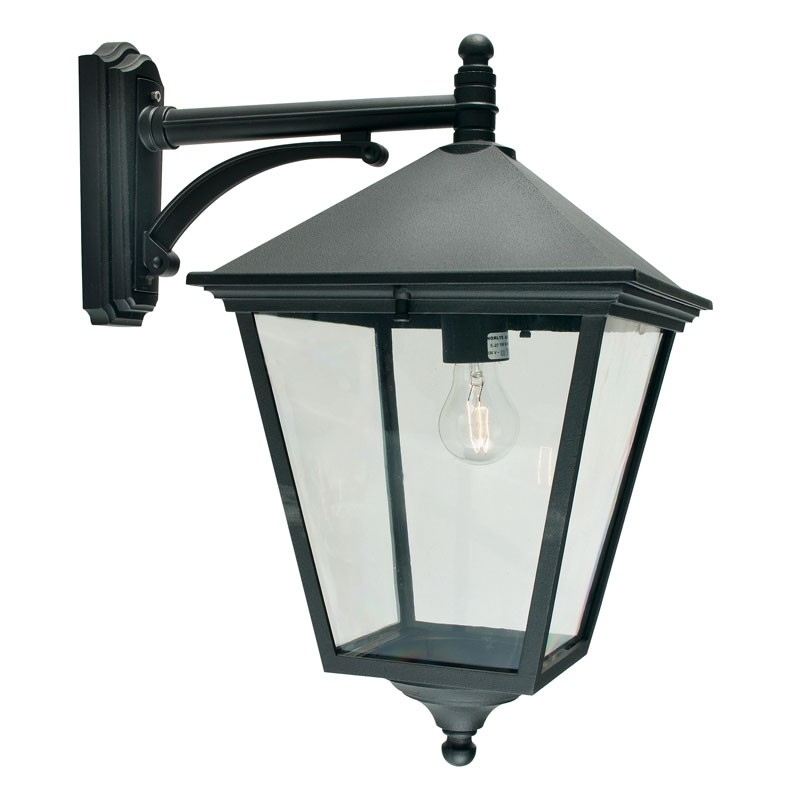Norlys Turin Grande Outdoor Hanging Lantern Wall Light - Black throughout Outdoor Hanging Lanterns With Pir (Image 6 of 10)