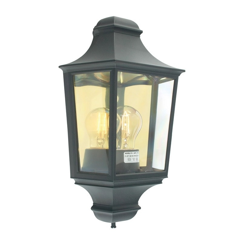 Norlys Turin Outdoor Half Lantern Wall Light - Black - Lyco pertaining to Half Lantern Outside Wall Lights (Image 8 of 10)