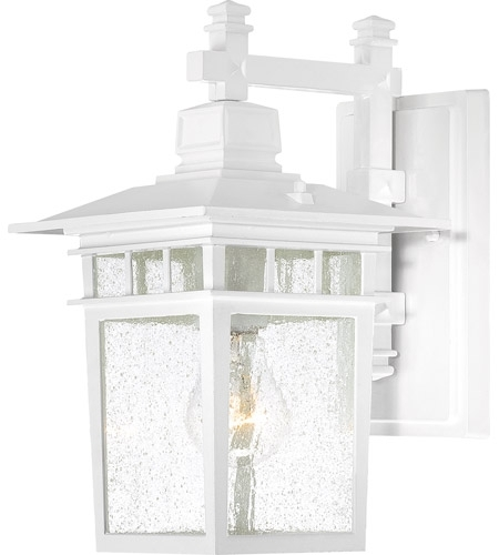 Nuvo 60/4951 Cove Neck 1 Light 12 Inch White Outdoor Wall Lantern Throughout White Outdoor Wall Lights (Photo 5 of 10)