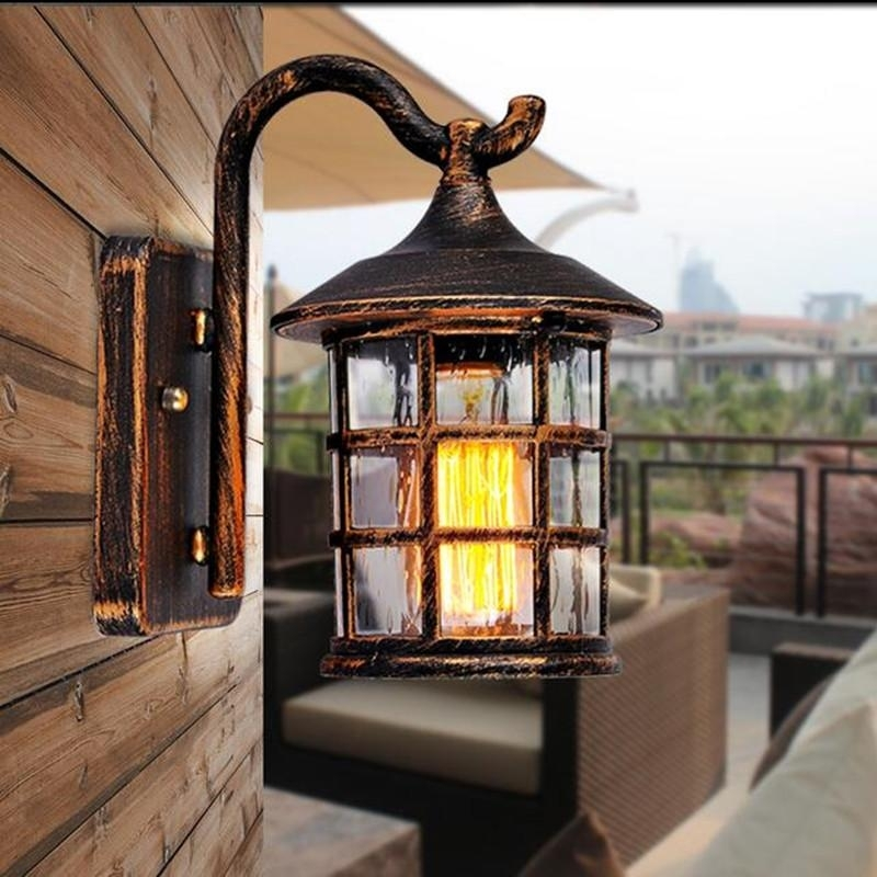 Online Cheap Antique Rustic Iron Waterproof Outdoor Wall Lamp for Rustic Outdoor Wall Lighting (Image 5 of 10)