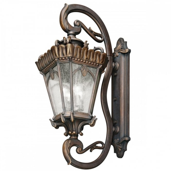 Ornate Gothic Outdoor Wall Lantern In Bronze With Seeded Glass X Large Pertaining To Gothic Outdoor Wall Lighting (View 10 of 10)