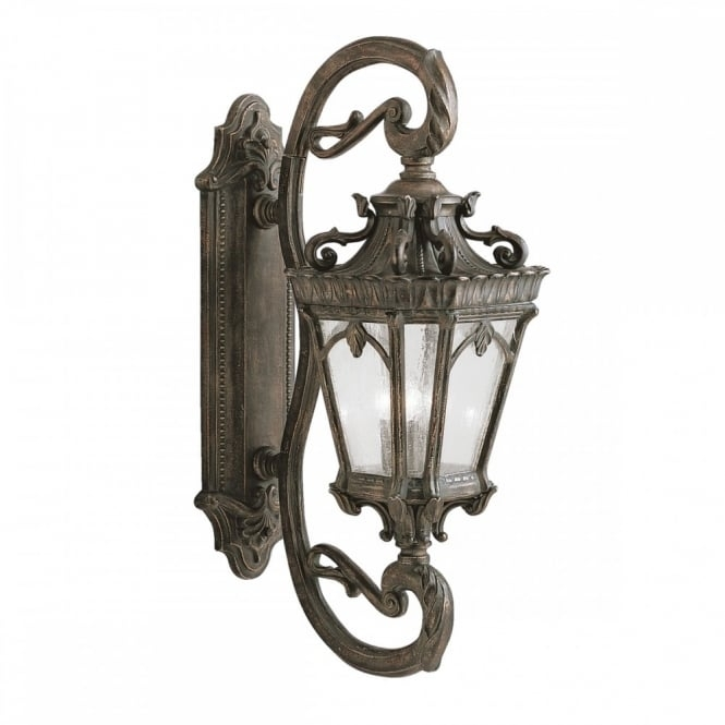 Ornate Gothic Outdoor Wall Lantern In Matt Bronze With Seeded Glass For Gothic Outdoor Wall Lighting (View 2 of 10)