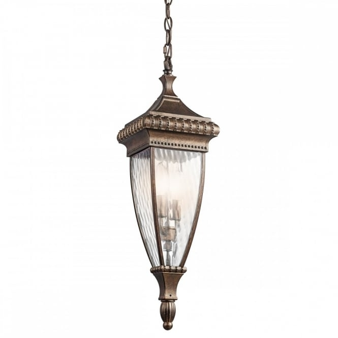 Ornate Outdoor Hanging Lantern In Matt Bronze With Rain Effect Glass inside Outdoor Hanging Glass Lanterns (Image 6 of 10)