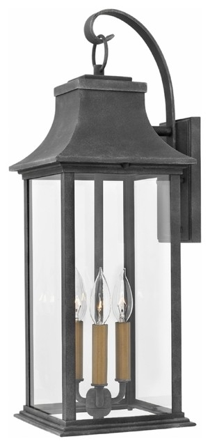 Outdoor Adair Large Wall Mount In Aged Zinc - Transitional - Outdoor with regard to Transitional Outdoor Wall Lighting (Image 7 of 10)