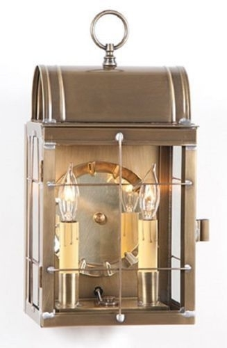 Outdoor Colonial Sconce Lantern Handcrafted Weathered Brass Dual in Made in Usa Outdoor Wall Lighting (Image 9 of 10)
