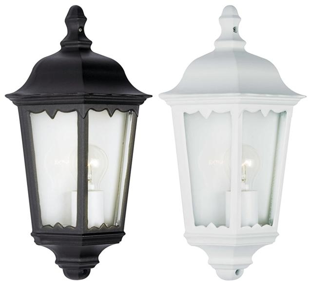 Outdoor Exterior 3 Sided Half Wall Lantern Black Or White Complete throughout Outdoor Wall Lights In White (Image 7 of 10)