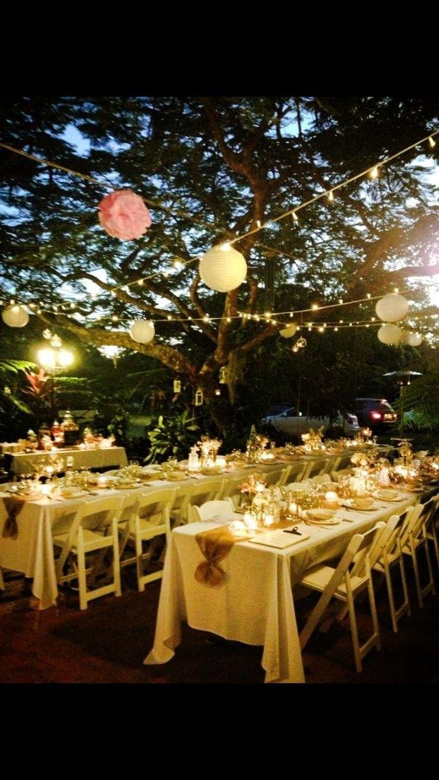 Outdoor Garden Wedding, Fairy Lights, Paper Lanterns And Pom Poms Regarding Outdoor Hanging Nylon Lanterns (View 10 of 10)