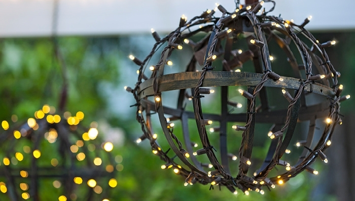 Outdoor Globe Lights throughout Outdoor Hanging Orb Lights (Image 9 of 10)
