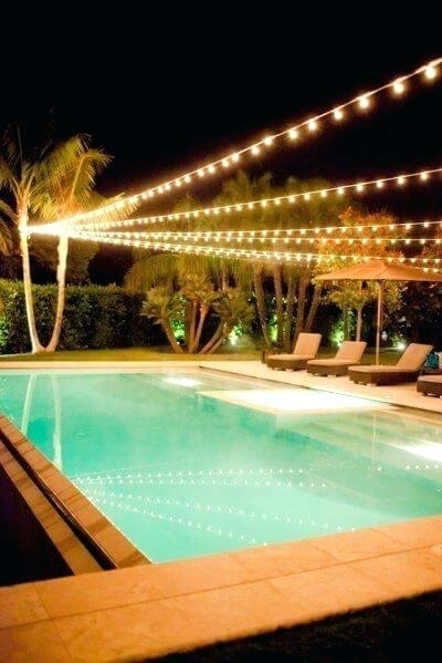 Outdoor Hanging String Lights High Voltage Over Pool Australia regarding Outdoor Hanging Pool Lights (Image 7 of 10)