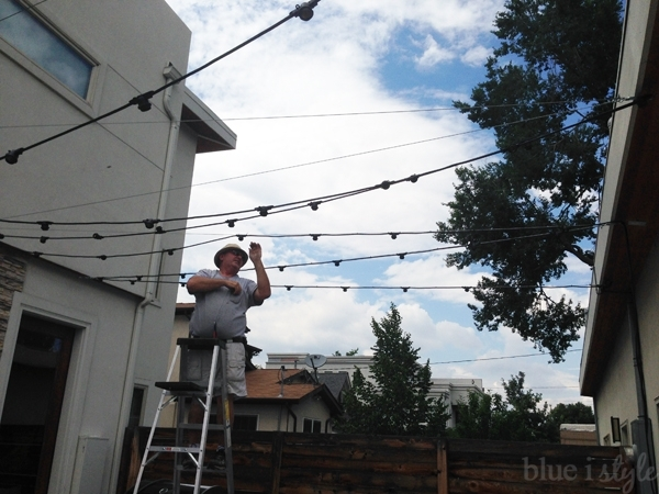 Outdoor Style} How To Hang Commercial Grade String Lights | Blue I with Hanging Outdoor Lights With Wire (Image 7 of 10)