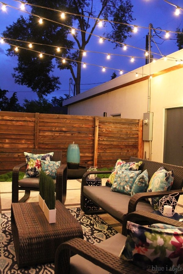Outdoor Style} How To Hang Commercial Grade String Lights | Patio With Regard To Commercial Grade Outdoor Hanging Lights (View 7 of 10)