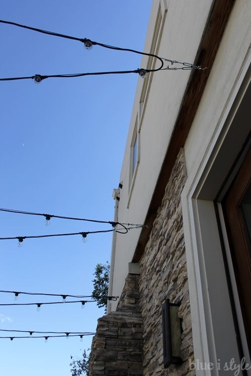 Outdoor Style} How To Hang Commercial Grade String Lights | Patio With Regard To Hanging Outdoor Lights With Wire (Image 9 of 10)