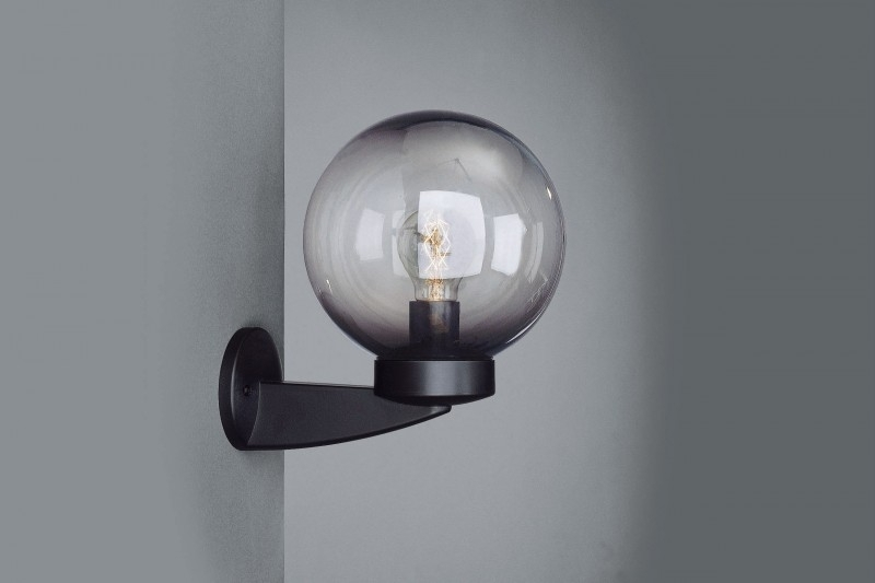 Outdoor Wall Light Pendant Light Globe Plastic Black Smokey Garden with regard to Outside Wall Globe Lights (Image 9 of 10)