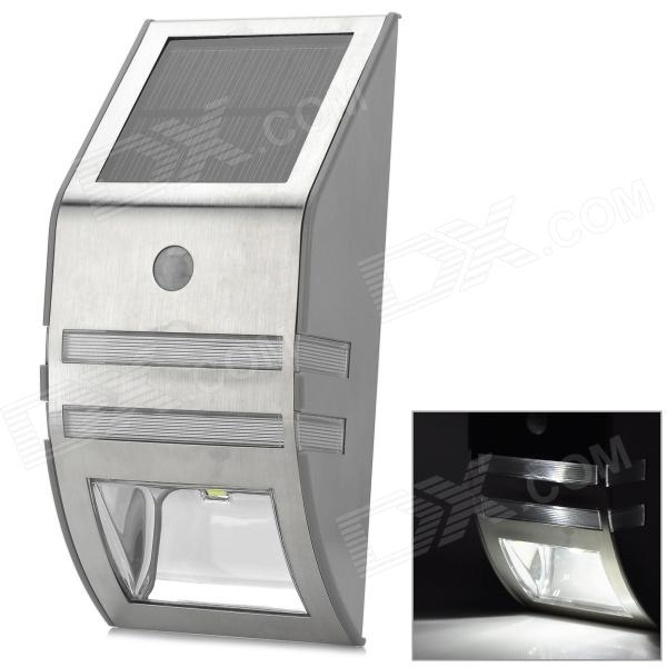 Outdoor Wall Mounted Solar Motion Sensor Led White Lamp - Silver throughout Solar Led Outdoor Wall Lighting (Image 5 of 10)