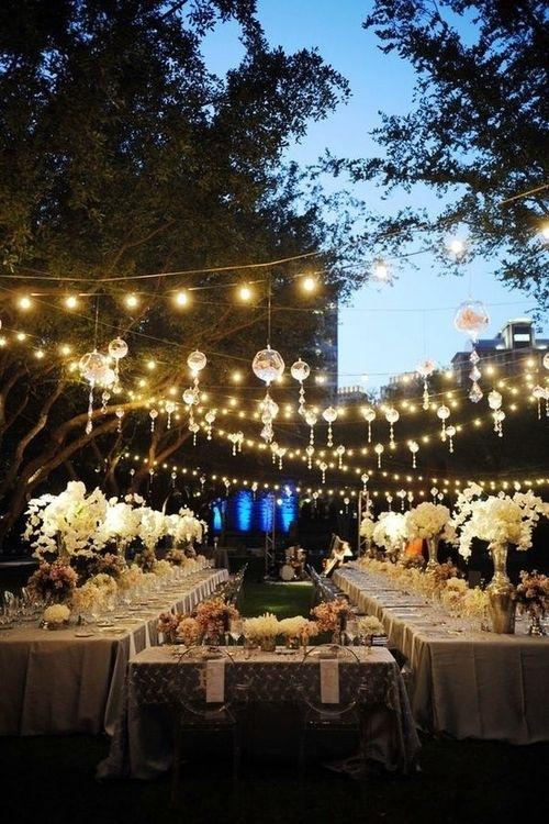 Outdoor Weddings | Backyard Weddings, Backyard And Chandeliers within Hanging Lights For Outdoor Wedding (Image 5 of 10)