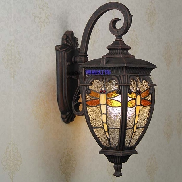 Persia Rustic Garden Light Dragonfly Stained Glass Terrace Outdoor intended for Stained Glass Outdoor Wall Lights (Image 10 of 10)