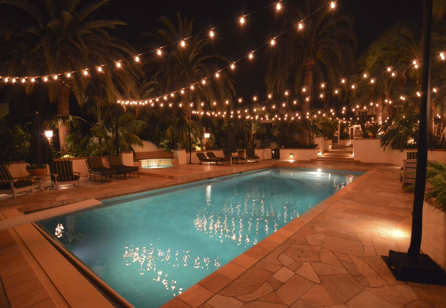 Pool Outdoor String Lights Appealing Garden Intended For Outside within Outdoor Hanging Lights on String (Image 9 of 10)