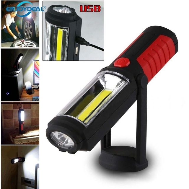 Portable Cob Flashlight Torch Usb Rechargeable Led Work Light in Outdoor Hanging Work Lights (Image 7 of 10)