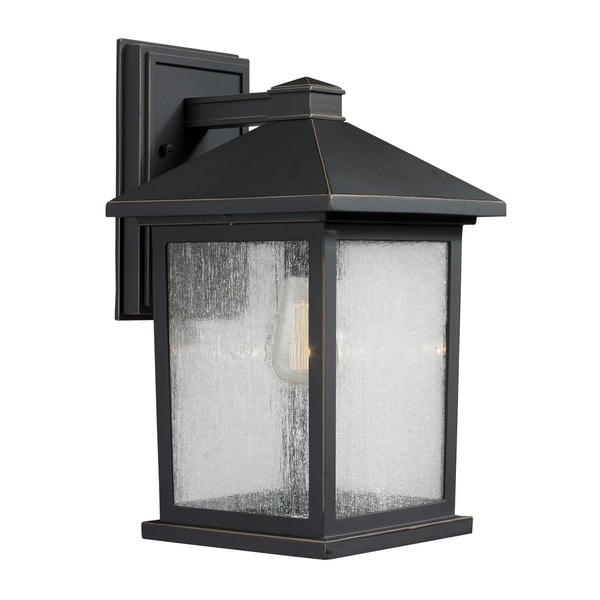Portland 1-Light Oil Rubbed Bronze Outdoor Wall Light - Free within Oil Rubbed Bronze Outdoor Wall Lights (Image 8 of 10)