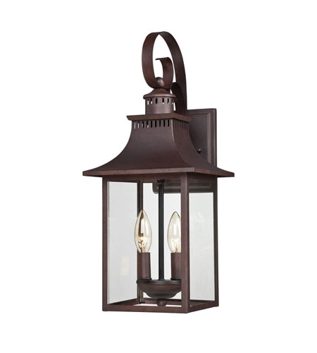 Quoizel Ccr8408Cu Chancellor 2 Light 19 Inch Copper Bronze Outdoor inside Outdoor Wall Lantern Lights (Image 7 of 10)
