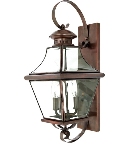 Quoizel Lighting Carleton 3 Light Outdoor Wall Lantern In Aged with regard to Quoizel Outdoor Wall Lighting (Image 7 of 10)