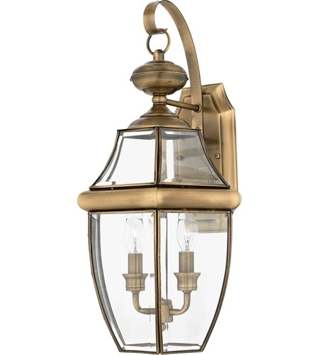 Quoizel Ny8317a Newbury 2 Light 20 Inch Antique Brass Outdoor Wall Within Brass Outdoor Wall Lighting (View 8 of 10)