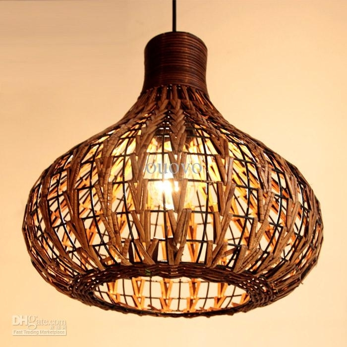 Rattan Pendant Light Jeffreypeak For Wicker Idea 18 Pertaining To inside Outdoor Hanging Wicker Lights (Image 10 of 10)