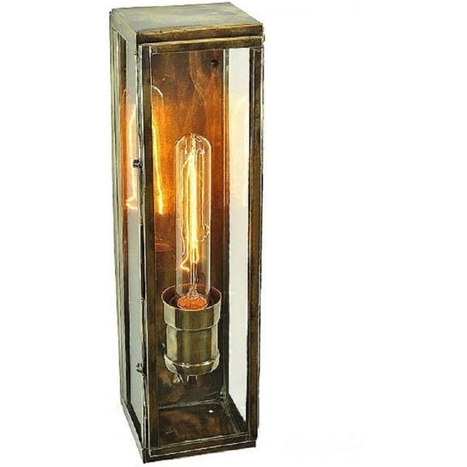 Rectangular Outdoor Wall Light, Antique Finish With Vintage Bulb Pertaining To Brass Outdoor Wall Lighting (View 7 of 10)
