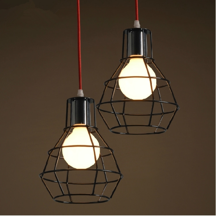 Retro Industrial Black Cage Pendant Light Wrought Iron Hanging intended for Outdoor Iron Hanging Lights (Image 6 of 10)