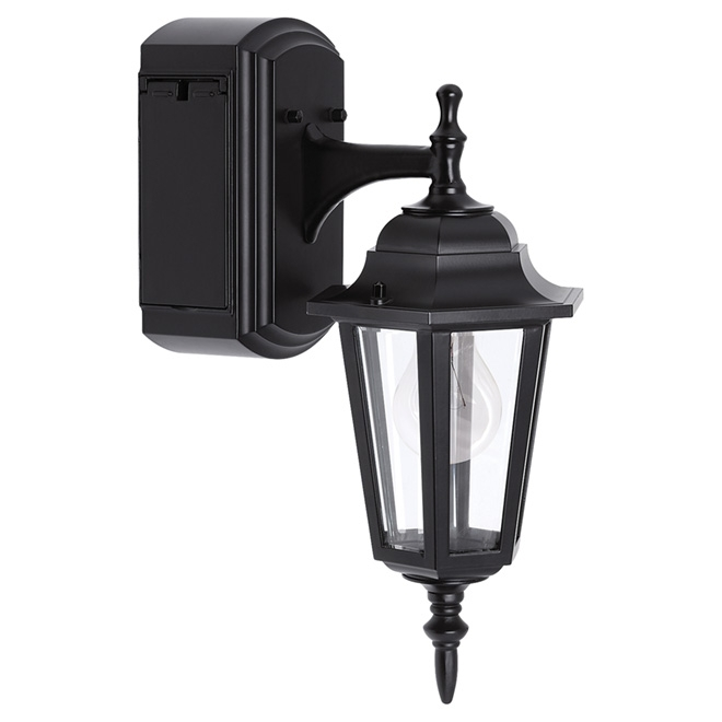 Reversible Wall Lantern With Gfci Outlet | Rona pertaining to Outdoor Wall Lights With Receptacle (Image 10 of 10)