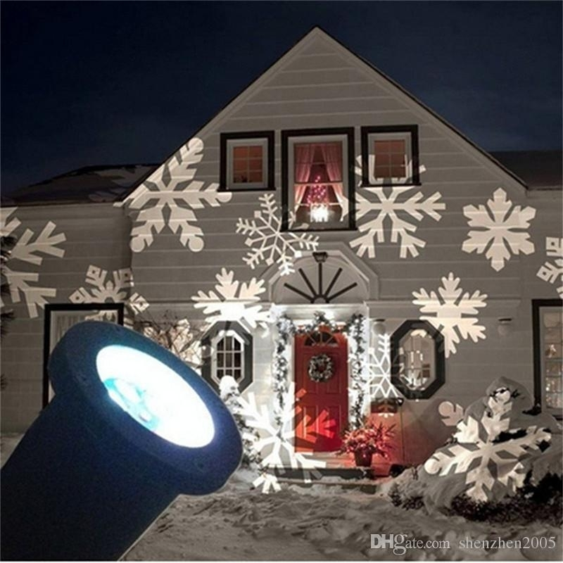 Rgb Led Snowflake Lights Waterproof Outdoor Moving Snowflake Display Regarding Outdoor Wall Xmas Lights (View 4 of 10)