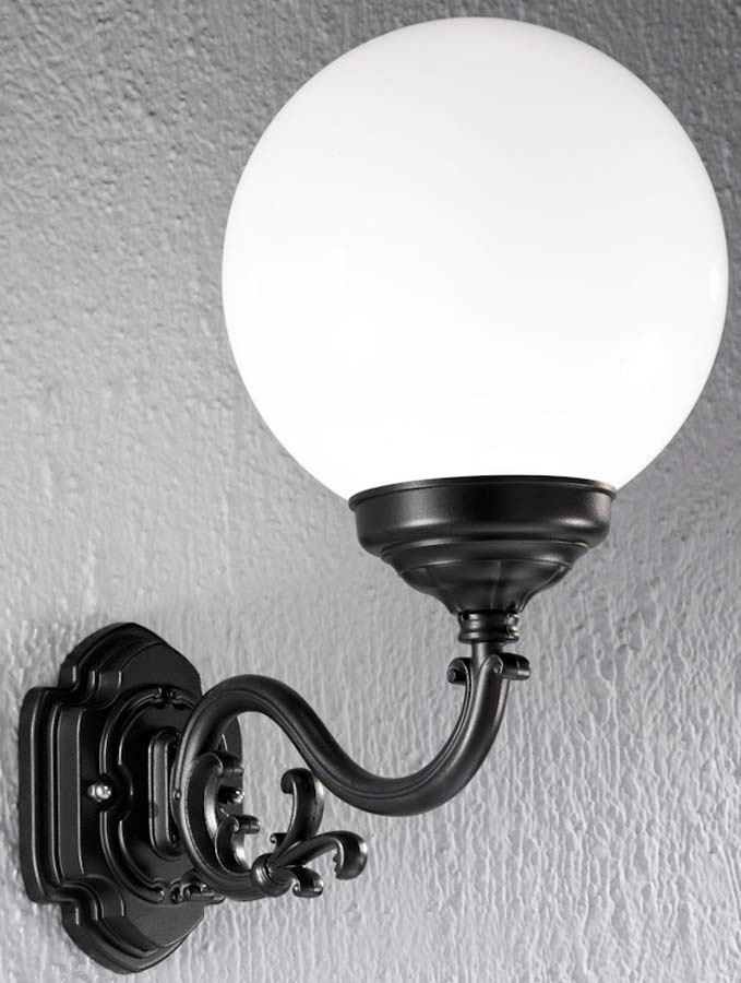 Rotunda Large Traditional Black Outdoor Globe Wall Light Ext6591 throughout Globe Outdoor Wall Lighting (Image 9 of 10)