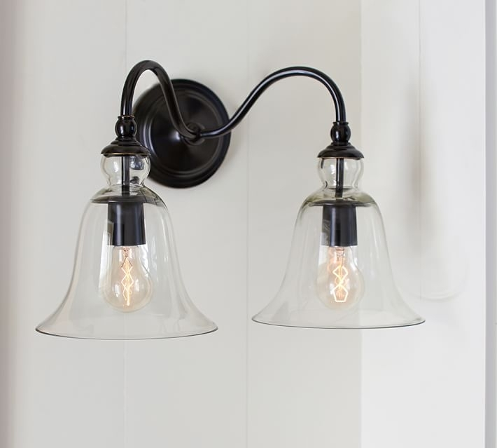 Rustic Glass Indoor/outdoor Double Sconce | Pottery Barn regarding Pottery Barn Outdoor Wall Lighting (Image 6 of 10)