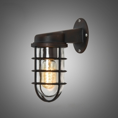 Rustic One Light Metal Hallway Sconce Antique Bronze 3.74 intended for Industrial Outdoor Wall Lighting (Image 10 of 10)