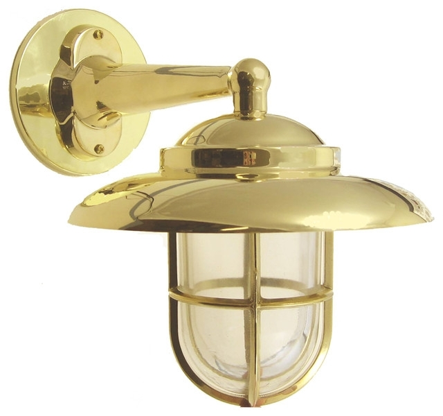 Searchlight 8204ab 1 Light Modern Outdoor Wall Antique Inside Brass Regarding Brass Outdoor Wall Lighting (View 10 of 10)