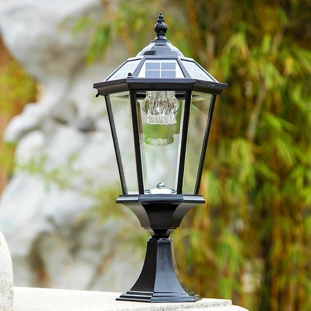 Solar Outdoor Wall Lamp Post Lights Lamppost Headlights Villa Garden with Outdoor Wall and Post Lighting (Image 9 of 10)