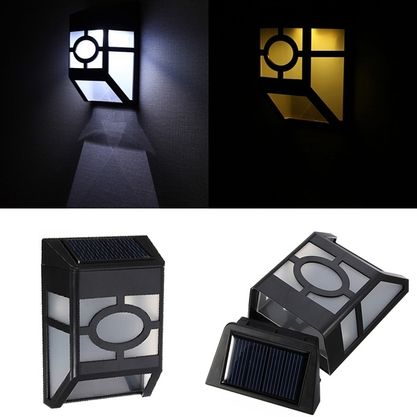 Solar Powered Wall Mount 2 Led Light Lamp Outdoor Garden Fence within Solar Outdoor Wall Light Fixtures (Image 10 of 10)