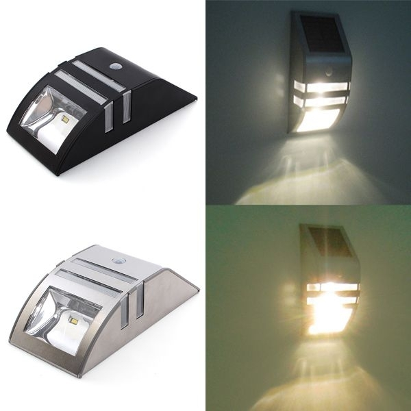 Stainless Steel Solar Power Highlight Led Pir Induction Wall Light in Solar Powered Outdoor Wall Lights (Image 10 of 10)