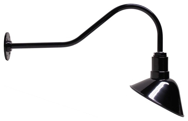 Steel Lighting Co 9 Angled Reflector 23 Gooseneck Barn In Wall Light for Outdoor Gooseneck Wall Lighting (Image 8 of 10)