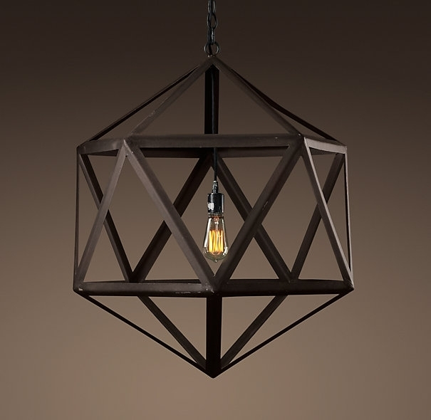 Steel Polyhedron Medium Pendant Outdoor Lighting Restoration pertaining to Metal Outdoor Hanging Lights (Image 10 of 10)