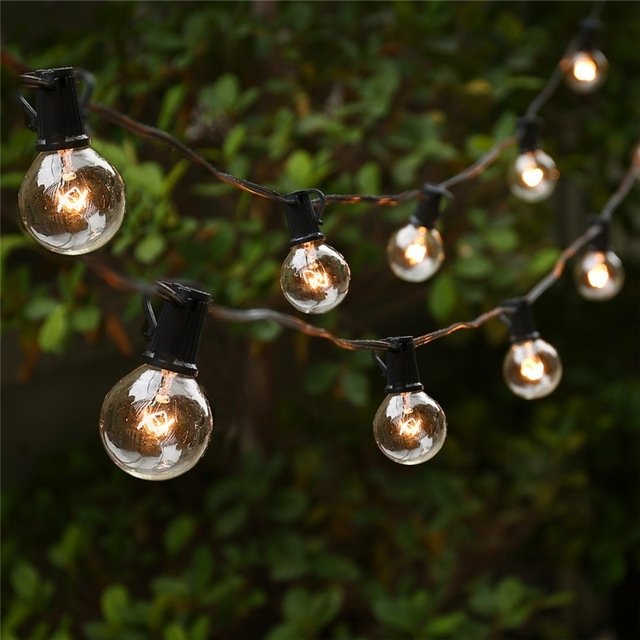 String Lights With 25 G40 Globe Bulbs Ul Listed For Indoor/outdoor pertaining to Outdoor Hanging Sphere Lights (Image 9 of 10)